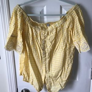 Old Navy Off-The-Shoulder Yellow Gingham Top